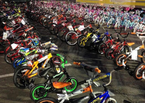 Bikes, Bikes Baby!  Thankful to the countless people who donated over 800 new bikes to Kids First!